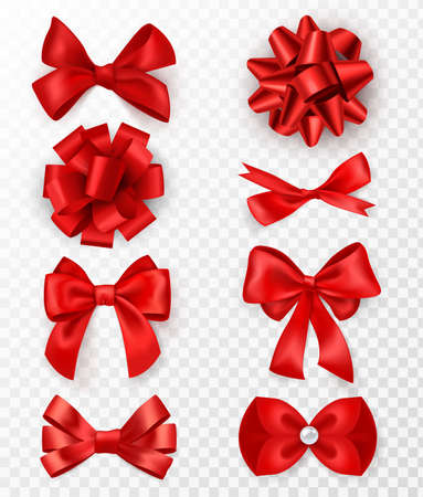 Red gift bows. Realistic luxury silk ribbons with bow, festive decorative satin rose, holiday packaging or card, elegant gift tape 3d vector elements on transparent background