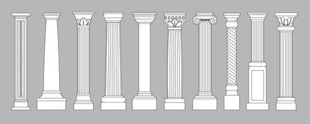 Ancient pillars. Classic historical roman column, antique architecture Greece different classic columns art objects, architectural line style isolated set
