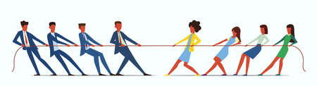 Man vs Woman in Tug of War. Young people pulling rope, employees competition. Conflict in business team, businesswoman against businessman, challenge or battle concept cartoon flat illustration