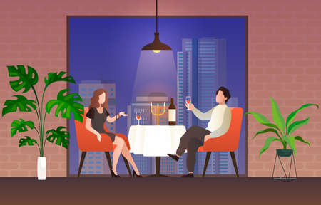People in restaurant. Loving couple man and woman sit at table drink vine talking, celebrate valentine holiday in evening cafe interior, romantic relationships flat cartoon illustration