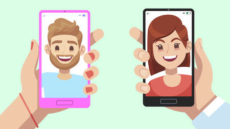 Smartphone with virtual relationship app. Hands holding mobile phone with man and woman profile, male and female face on device screen, online message and chatting, flat cartoon illustration