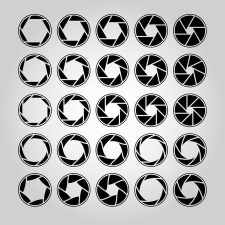 Camera lens diaphragm. Shutter aperture pictogram, optical lenses. Collection of photo or video camera snap optics with different position of petals. Outline silhouette vector isolated collection