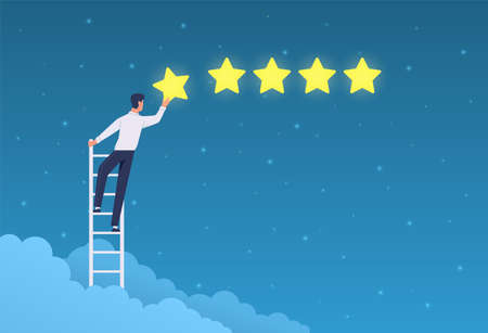 Customer rating. Businessman stands on ladder and gives five stars ranking. Quality product positive feedback, evaluation system app, client opinion flat concept