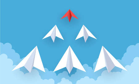 Paper plane. Red and white paper airplanes flying in sky, success goal, creative idea and leadership, ambition symbol, teamwork strategy and new startup ideas concept Vektorgrafik