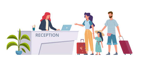 Family at hotel reception. Check into hostel tourists, guests with suitcases, registration service. Woman man and child with luggage booking room. Travelers in lobby flat cartoon concept
