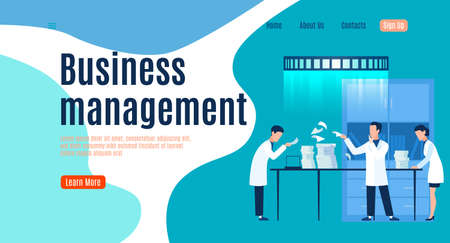 Business management landing page, men and woman in uniform at office work with documents, teamwork success, analysis strategy and planning system, mobile app or web banner vector flat template