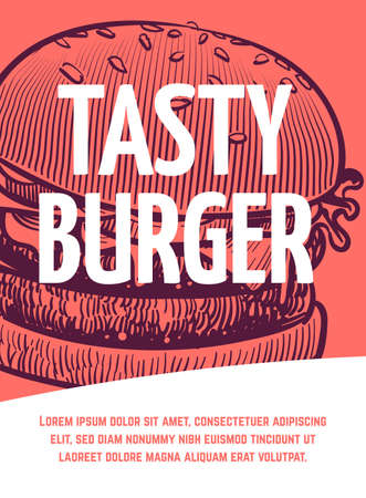 Fast food flyer. Tasty bbq burger restaurant or cafe poster, hamburger hand drawn illustration sketch style in red colors for menu with text and copy space