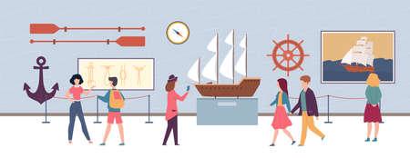 Maritime exhibition in museum or art gallery, visitors men and women looking artworks pictures and sculptures, excursion about ocean and sea, flat cartoon horizontal illustration Ilustração