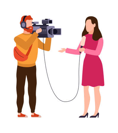 Newscaster and journalist profession. Operator in headphones holds camera and reporter with microphone records news, filmmaking videotaping and interviewing concept cartoon flat vector characters Ilustração
