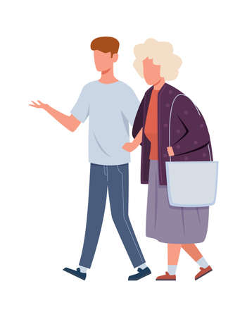 Volunteers help old woman. Young volunteer man caring for elderly human, social supporting aged people, walking with grandmother, cartoon isolated illustration in flat style Ilustração