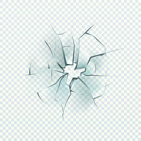 Broken glass. Realistic cracked effect, destruction hole, damage windshield or window, shattered mirror, vector closeup illustration isolated on transparent background Ilustración de vector