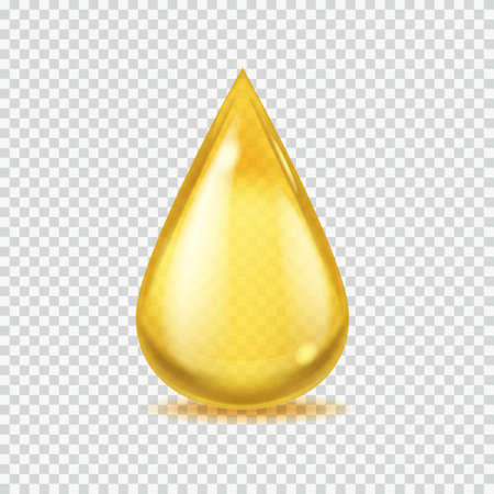 Realistic oil drop. Gold honey or petroleum droplet, icon of yellow essential aroma or olive oils, isolated illustration on transparent background