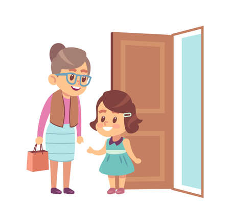 Little girl respect elderly. Polite obedient child with good manners opening door to grandmother, children etiquette concept cartoon flat vector isolated illustration