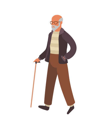 Elderly man walking. Happy old senior in glasses with stick walks in park, healthy leisure lifestyle for retiree. Flat simple vector cartoon isolated illustration