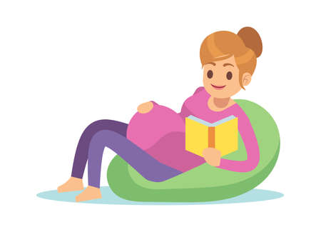 Pregnant woman reading. Pregnancy female on chair with book, waiting for child, leisure time during pregnancy concept, simple cartoon flat vector isolated character