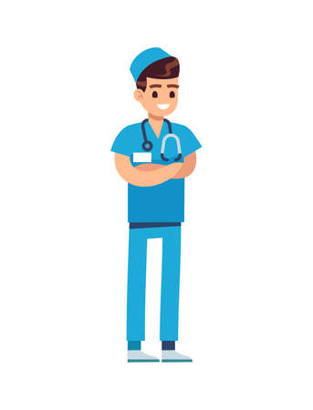 Doctor medical staff. Male physician in blue uniform and stethoscope, pediatrician or nurse standing and smiling, flat vector cartoon isolated character Ilustração