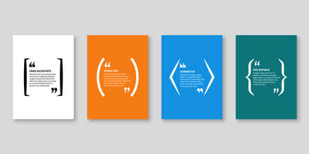 Quote frames. Textbox, bubble shape with quotation for blog memo phrase and title message with copy space, citation banners vector isolated template Ilustração