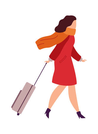 Woman in airport going on vacation. Female with suitcase boarding. Cartoon character in terminal. Passenger goes on plane or train, flat vector illustration isolated on white background