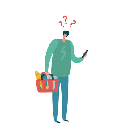 Man shopping. Modern male character with question mark above head hold colorful basket, buyer with list buys products in supermarket, flat vector isolated cartoon illustration