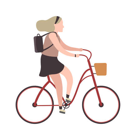 Woman riding on bicycle. Simple character cyclist girl rides on bike. Outdoor activities or walking in park, healthy lifestyle concept. Flat vector cartoon isolated illustration Ilustração