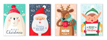 Christmas cards. Happy Merry Christmas and New Year greeting card with cute santa claus and cute animals polar bear and deer xmas gift cartoon vector holiday set