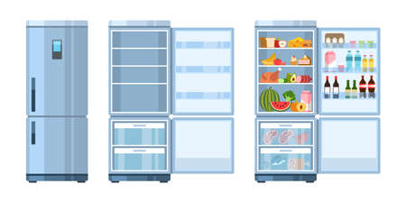 Fridge. Closed and open, empty and refrigerator with products, healthy food, water and milk, fruit and vegetable, alcohol and meat, flat cartoon vector kitchen concept Ilustração