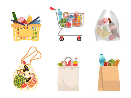 Shopping bags with foods. Grocery purchases, paper packages, plastic or eco bag, full trolley and basket with products. Buying organic food flat vector cartoon set