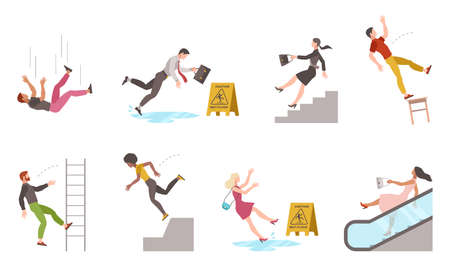 Falling down people. Tripping on stairs and drop from altitude, slipping wet floor, person injury, dangerous dropping from chair and ladder, accident vector flat cartoon isolated unbalanced characters Ilustração