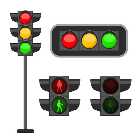 Traffic light. Led lights red, yellow and green colors signals street regulation, crosswalk and road safety, control accidents, web design banner vector set isolated on background