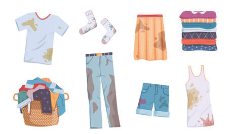 Dirty and clean clothes. Apparel heap with stains in basket and washed clothing, pile different towels, undershirts and jeans, shorts and skirt for laundry vector flat isolated set