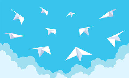Paper planes in blue sky. White origami group of airplanes flying in clouds, new startup ideas and teamwork concept, aviation flight, traveling concept cartoon style vector