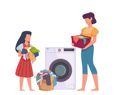 Family in laundry. Mother and daughter loading dresses in washing machine, heap apparel with stains, dirty clothes housework vector flat cartoon isolated concept Ilustração