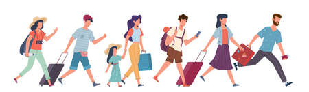 Running tourists. People with baggage hurry to flight, travelers in airport waiting plane departure, lateness registration vector flat cartoon concept Ilustração