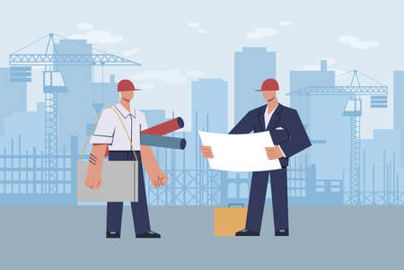 Architect at construction site. Master foreman with helmet on his head with diagram in hands during construction on urban landscape skyscraper and crane, flat cartoon modern vector illustration