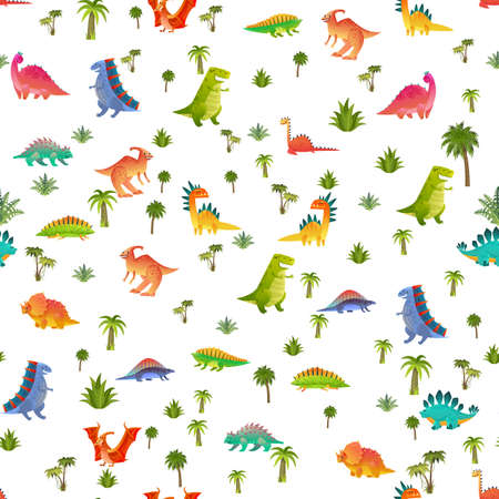 Baby dino seamless pattern. Animal dragon and cute nature dinosaur in jungle, childish bright reptile texture for nursery wallpaper, fabrics and wrapping paper, vector background isolated on white