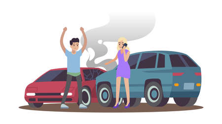 Car accident. Man and woman after cars collision on road, male character angry female calling on phone, drivers standing near automobiles flat cartoon isolated illustration