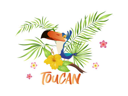 Cute toucan cartoon. Bird with tropical branch and leaves, colorful exotic character sitting on palm tree and hibiscus bloom, vector isolated illustration with text Ilustração