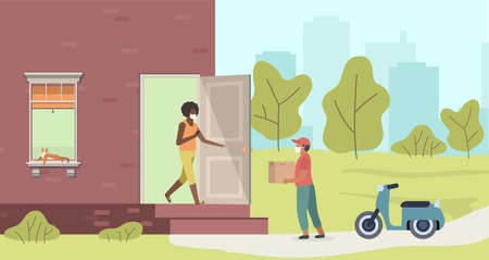 Delivery of package to door. Courier and woman in protective masks, handing over parcel at home from man with box on motorcycle, contactless shopping service concept cartoon flat vector illustration