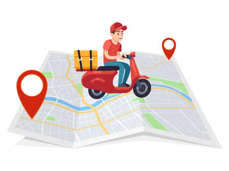 Express delivery. Motorcyclist courier on moped with box on city map, fast male character on motorcycle rides to client, shipping parcel flat vector young cartoon character Ilustração
