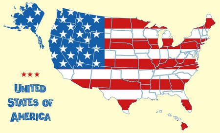 Map of the United States of America. Flag of USA throughout territory with borders of all states, white stars and red stripes on national territory, american geography wallpaper vector background Ilustração