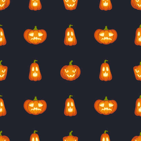 Pumpkins are scary face. Halloween abstract seamless pattern, orange pumpkin with scary terrible head on black background, creative design textile, wrapping, wallpaper vector texture for holidays
