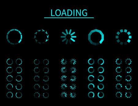 Round loader. Progressive buffering upload loading, frame animation, digital interface for app and internet, computer and mobile, blue signs of wait download on black background vector isolated set Illusztráció