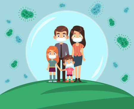 Family protected from virus. Mom dad and kids in medical masks stands in protective bubble, stop the spread of viruses flu and covid-19, beware epidemic cartoon flat vector illustration