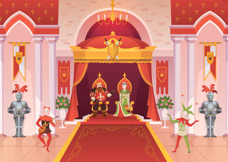 King and queen. Luxury interior medieval royal palace throne monarchy ceremony room with pillars and carpets, fantasy jesters and knights, fairy tale cartoon vector characters