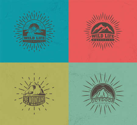 Mountain emblems. Set of four vector colored vintage badges, mountaineering camp and adventure tourism, hiking expedition retro labels, vector monochrome isolated illustration collection