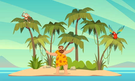 Robinson Crusoe. Man on desert island in ocean and palm coconut trees with parrot and monkey, tropical paradise landscape, sandy beach flat cartoon vector illustration