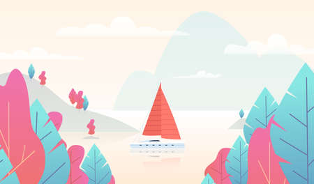 Sailboat panorama with pond. Mountain nature scene with boat and lake, paradise background with pink and blue trees, mountains and sea, exotic resort summer vacation. Flat vector cartoon illustration Ilustração