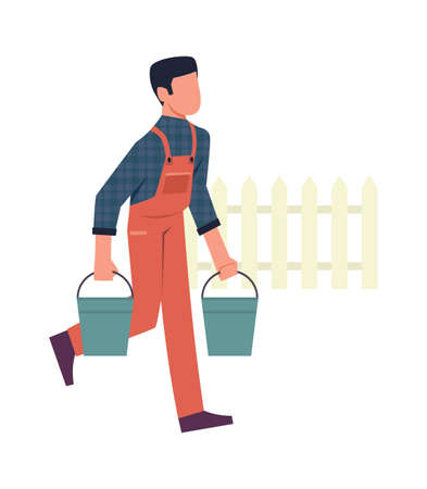 Man in garden. Male character with buckets on farm, backyard gardening concept, seasonal working in countryside, cartoon simple flat vector isolated illustration