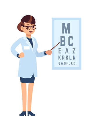 Oculist. Doctor cartoon character stands in glasses and white medical uniform and tests with alphabet, diagnostic eye sight, ophthalmology treatment concept cartoon flat vector isolated illustration 일러스트