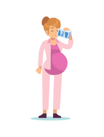Pregnant woman drinking milk. Pregnancy female standing drinks calcium products, waiting for child, leisure time during pregnancy concept, simple cartoon flat vector isolated character
